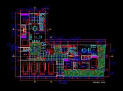 فایل اتوکد پلان معماری طبقه همکف آپارتمان مسکونی 5 طبقه با مبلمان و اندازه گذاری کامل قابل ویرایش