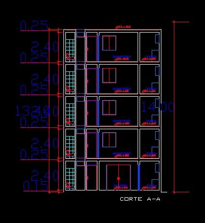فایل اتوکد برش آپارتمان مسکونی 5 طبقه با کد ارتفاعی کامل قابل ویرایش