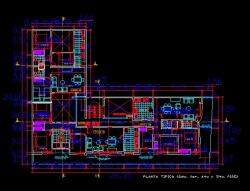 فایل اتوکد پلان معماری تیپ طبقات آپارتمان مسکونی 5 طبقه با مبلمان و اندازه گذاری کامل قابل ویرایش