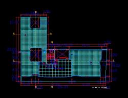 فایل اتوکد پلان بام آپارتمان مسکونی 5 طبقه با اندازه گذاری کامل قابل ویرایش