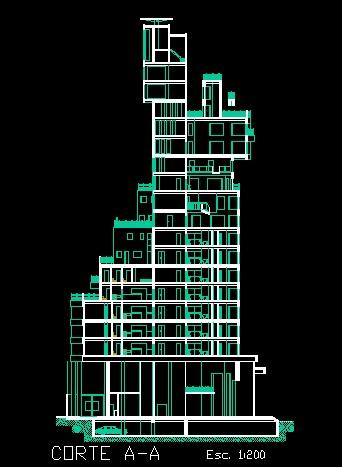 فایل اتوکد برش آپارتمان مسکونی مدرن 16 طبقه کامل قابل ویرایش