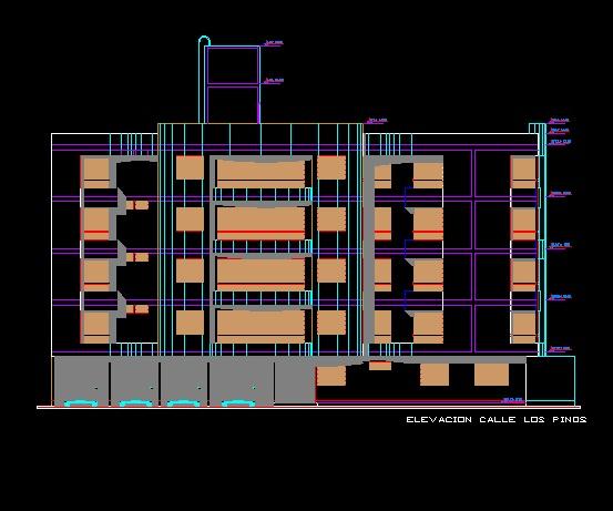 فایل اتوکد نما آپارتمان مسکونی 5 طبقه با کد ارتفاعی کامل قابل ویرایش