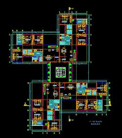 فایل اتوکد پلان معماری تیپ طبقات آپارتمان مسکونی 3 طبقه با مبلمان و اندازه گذاری کامل قابل ویرایش