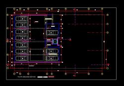 فایل اتوکد پلان معماری طبقه زیر زمین اول آپارتمان مسکونی 7 طبقه با مبلمان و اندازه گذاری کامل قابل ویرایش
