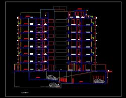 فایل اتوکد برش آپارتمان مسکونی 7 طبقه با کد ارتفاعی کامل قابل ویرایش