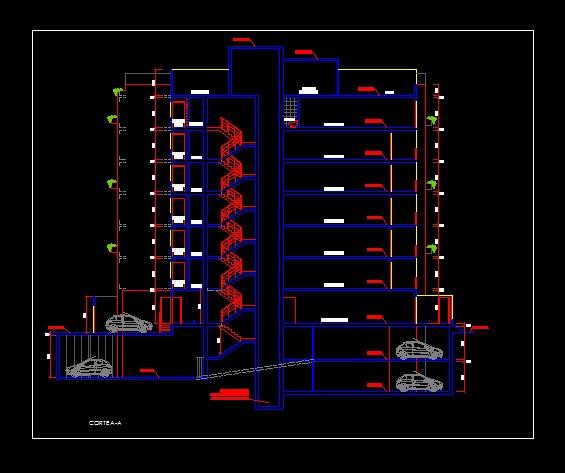 فایل اتوکد برش آپارتمان مسکونی 7 طبقه با کد ارتفاعی رد شده از پله کامل قابل ویرایش