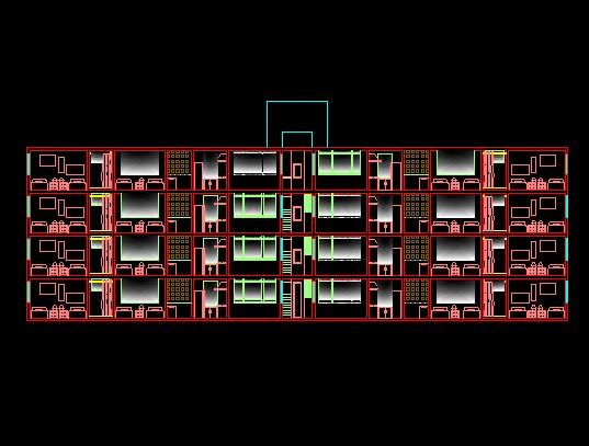 فایل اتوکد برش مجتمع مسکونی 4 طبقه مدرن کامل قابل ویرایش