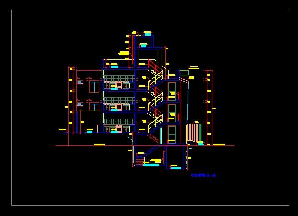 فایل اتوکد برش آپارتمان مسکونی 3 طبقه مدرن با کد ارتفاعی کامل رد شده از پله قابل ویرایش