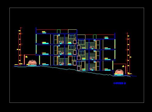 فایل اتوکد برش آپارتمان مسکونی 3 طبقه مدرن با کد ارتفاعی کامل قابل ویرایش