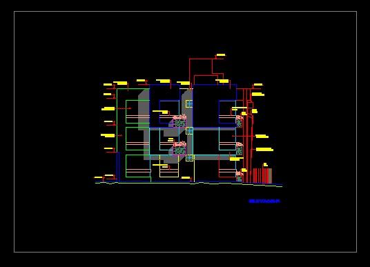 فایل اتوکد نما آپارتمان مسکونی 3 طبقه مدرن با کد ارتفاعی کامل قابل ویرایش