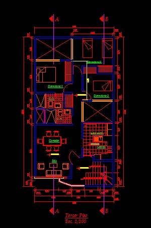 فایل اتوکد پلان طبقه دوم آپارتمان مسکونی 3 طبقه مدرن با مبلمان و اندازه گذاری کامل قابل ویرایش