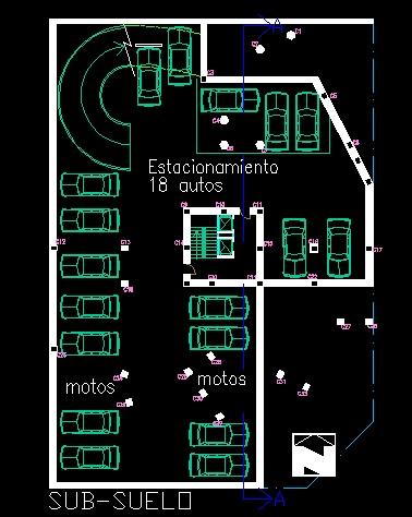 فایل اتوکد پلان معماری طبقه زیر زمین دوم آپارتمان مسکونی مدرن 16 طبقه با مبلمان کامل قابل ویرایش