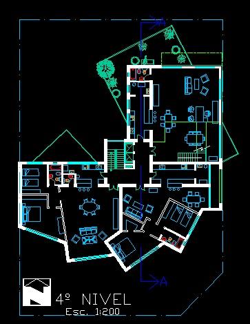 فایل اتوکد پلان معماری طبقه چهارم آپارتمان مسکونی مدرن 16 طبقه با مبلمان کامل قابل ویرایش