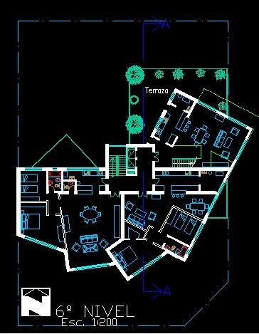 فایل اتوکد پلان معماری طبقه ششم آپارتمان مسکونی مدرن 16 طبقه با مبلمان کامل قابل ویرایش