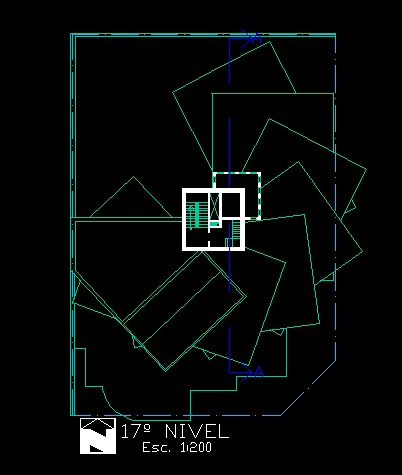 فایل اتوکد پلان بام آپارتمان مسکونی مدرن 16 طبقه کامل قابل ویرایش