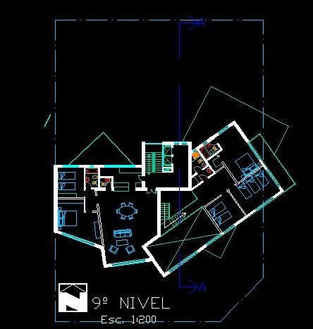 فایل اتوکد پلان معماری طبقه نهم آپارتمان مسکونی مدرن 16 طبقه با مبلمان کامل قابل ویرایش