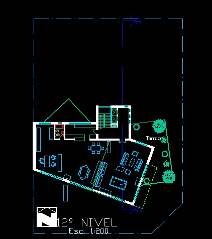 فایل اتوکد پلان معماری طبقه دوازدهم آپارتمان مسکونی مدرن 16 طبقه با مبلمان کامل قابل ویرایش