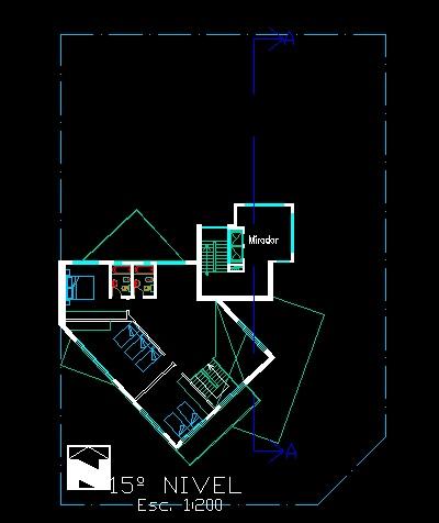 فایل اتوکد پلان معماری طبقه پانزدهم آپارتمان مسکونی مدرن 16 طبقه با مبلمان کامل قابل ویرایش
