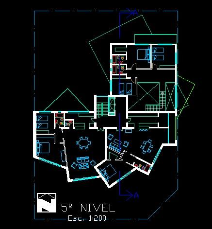 فایل اتوکد پلان معماری طبقه پنجم آپارتمان مسکونی مدرن 16 طبقه با مبلمان کامل قابل ویرایش