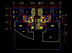 فایل اتوکد پلان معماری طبقه آخر آپارتمان مسکونی 5 طبقه با اندازه گذاری کامل قابل ویرایش