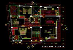 فایل اتوکد پلان معماری طبقه اول آپارتمان مسکونی 5 طبقه با اندازه گذاری و مبلمان کامل قابل ویرایش
