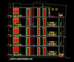 فایل اتوکد برش آپارتمان مسکونی 5 طبقه با کد ارتفاعی و مبلمان کامل رد شده از پله قابل ویرایش