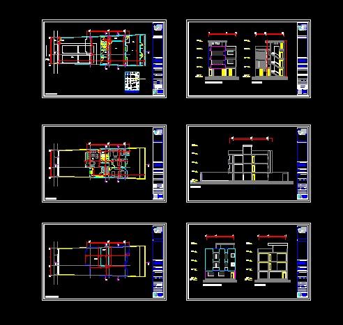 پروژه کامل اتوکد منزل مسکونی 3 طبقه دارای نما و برش کامل قابل ویرایش