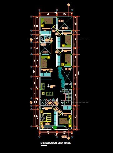 فایل اتوکد پلان معماری طبقه اول آپارتمان مسکونی 3 طبقه با اندازه گذاری و مبلمان کامل قابل ویرایش