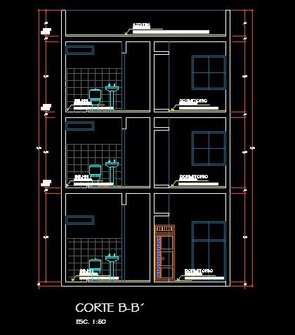فایل اتوکد برش آپارتمان مسکونی 3 طبقه با کد ارتفاعی و مبلمان کامل قابل ویرایش