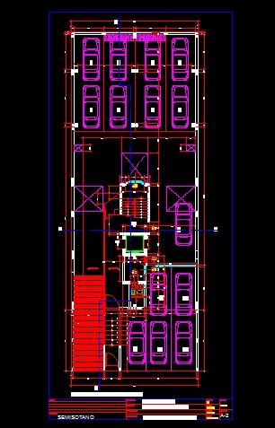 فایل اتوکد پلان معماری طبقه زیر زمین آپارتمان مسکونی 5 طبقه با اندازه گذاری و مبلمان کامل قابل ویرایش