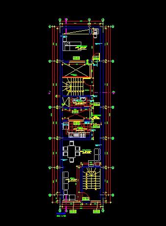 فایل اتوکد پلان معماری طبقه دوم آپارتمان مسکونی 3 طبقه با اندازه گذاری و مبلمان کامل قابل ویرایش