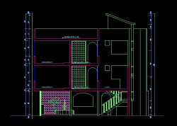 فایل اتوکد برش منزل مسکونی 3 طبقه با کد ارتفاعی کامل قابل ویرایش