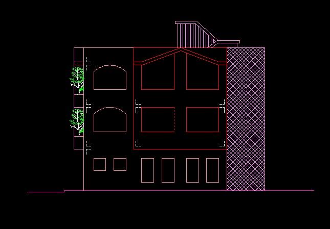 فایل اتوکد نما منزل مسکونی 3 طبقه کامل قابل ویرایش