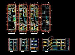 پروژه کامل اتوکد آپارتمان مسکونی 3 طبقه دارای نما و برش کامل قابل ویرایش