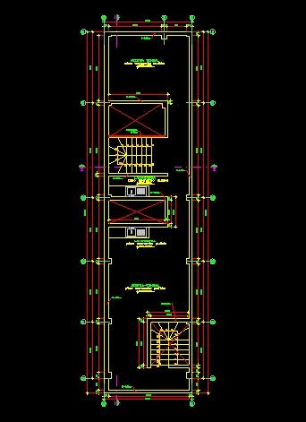 فایل اتوکد پلان بام آپارتمان مسکونی 3 طبقه با اندازه گذاری کامل قابل ویرایش