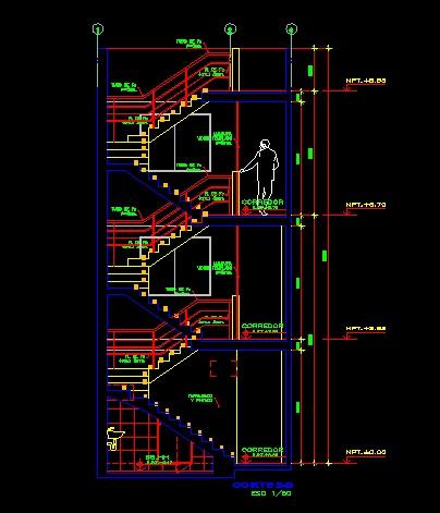 فایل اتوکد برش آپارتمان مسکونی 3 طبقه با کد ارتفاعی کامل رد شده از پله قابل ویرایش