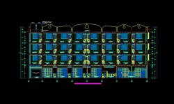فایل اتوکد برش آپارتمان مسکونی 4 طبقه با کد ارتفاعی و مبلمان کامل قابل ویرایش