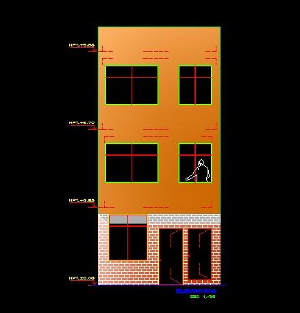 فایل اتوکد نما آپارتمان مسکونی 3 طبقه با کد ارتفاعی کامل قابل ویرایش
