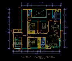 فایل اتوکد پلان معماری تیپ طبقات آپارتمان مسکونی 5 طبقه با اندازه گذاری و مبلمان کامل قابل ویرایش