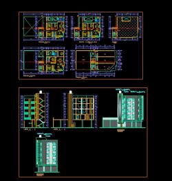 پروژه کامل اتوکد آپارتمان مسکونی 5 طبقه دارای نما و برش کامل قابل ویرایش