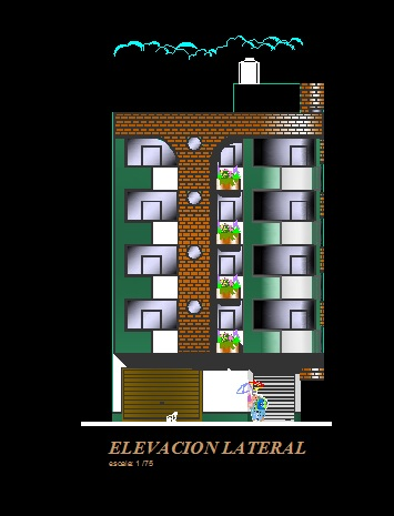 فایل اتوکد نما آپارتمان مسکونی 5 طبقه کامل قابل ویرایش
