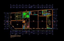 فایل اتوکد پلان معماری طبقه همکف آپارتمان مسکونی 5 طبقه با اندازه گذاری و مبلمان کامل قابل ویرایش