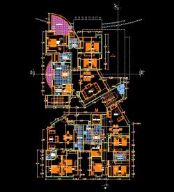 فایل اتوکد پلان معماری طبقات چهارم تا نهم مجتمع مسکونی 10 طبقه با اندازه گذاری و مبلمان کامل قابل ویرایش