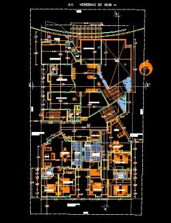 فایل اتوکد پلان معماری طبقه اول و دوم و سوم مجتمع مسکونی 10 طبقه با اندازه گذاری و مبلمان کامل قابل ویرایش