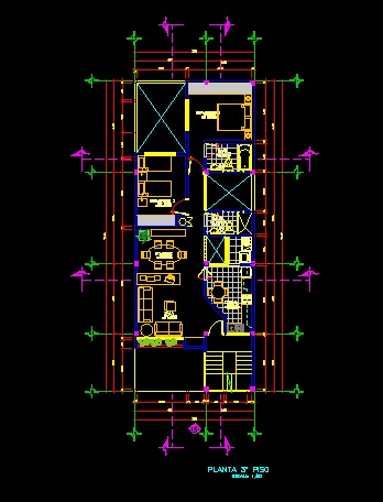 فایل اتوکد پلان معماری طبقه دوم منزل مسکونی 3 طبقه با اندازه گذاری و مبلمان کامل قابل ویرایش