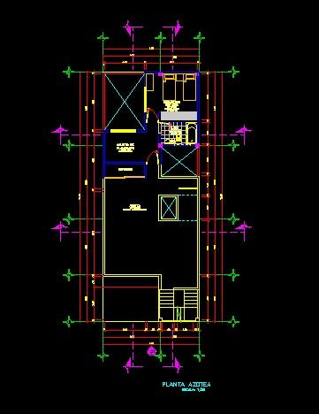 فایل اتوکد پلان بام منزل مسکونی 3 طبقه با اندازه گذاری کامل قابل ویرایش