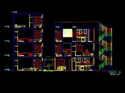 فایل اتوکد برش منزل مسکونی 3 طبقه با مبلمان و کد ارتفاعی کامل رد شده از پله قابل ویرایش
