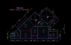 فایل اتوکد پلان بام منزل مس ی 2 طبقه با اندازه گذاری کامل قابل ویرایش