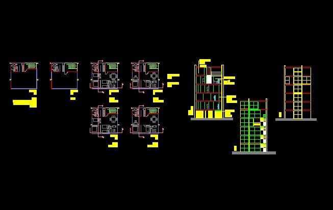 پروژه کامل اتوکد آپارتمان مس ی 6 طبقه دارای برش کامل قابل ویرایش