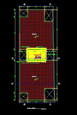 فایل اتوکد پلان بام مجتمع مس ی 5 طبقه با اندازه گذاری کامل قابل ویرایش